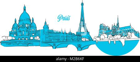 Paris Travel Landmarks Banner, hand drawn outline sketch for greeting card prints and marketing - Stock Photo