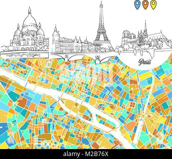 Paris Travel Sketches and Map, hand drawn outline illustration for print design and travel marketing - Stock Photo