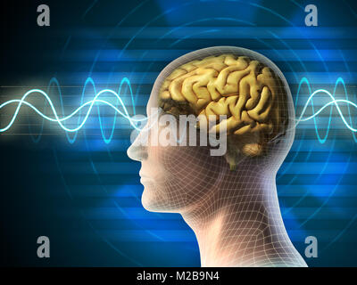 Human head and brain. Different kind of waveforms produced by brain activity shown on background. Digital illustration. - Stock Photo