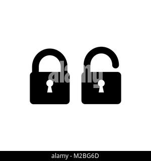 Lock icon. Security padlock - locked and unlocked Icons. Simple sign in flat style isolated on white background. - Stock Photo