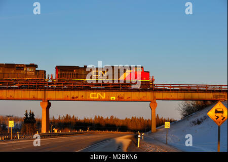 A Canadian National freight train on an overpass that crosses highway 16 near the hamlet of Gainford in Alberta - Stock Photo