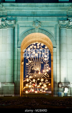 Puerta de Alcala at Christmas, detail of Nativity scene, night view. Madrid, Spain. - Stock Photo