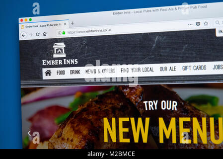 LONDON, UK - JANUARY 10TH 2018: The homepage of the official website for the Ember Inns pub brand which is owned - Stock Photo