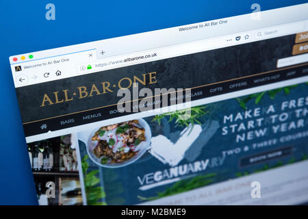 LONDON, UK - JANUARY 10TH 2018: The homepage of the official website for the All Bar One pub chain which is owned - Stock Photo