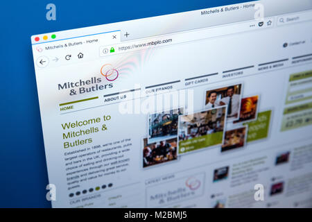 LONDON, UK - JANUARY 10TH 2018: The homepage of the official website for Mitchells and Butlers plc - the company - Stock Photo