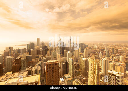 Elevated view of the skyline of downtown Chicago, Illinois, USA - Stock Photo