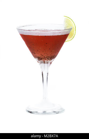 close up of a red cocktail served in a martini glass isolated on a white background - Stock Photo