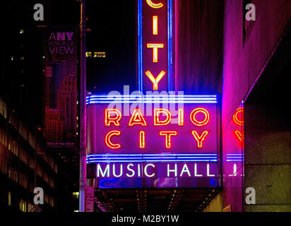 outside neon lights of radio city music hall in new york, usa, - Stock Photo