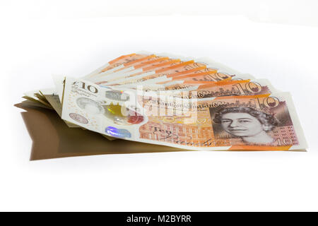 One hundred pounds in ten pound notes. - Stock Photo