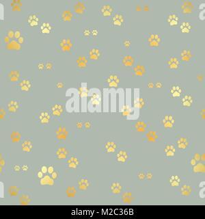 Dog Gold paw prints  Seamless pattern of animal gold footprints  Dog