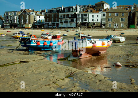 Fishing boats moored in St Ives harbour, Cornwall - Stock Photo