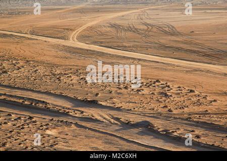 tracks in the desert sand, Western Sahara - Stock Photo