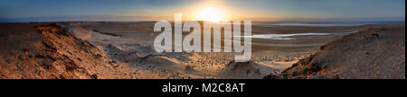 Sunrise in the Western Sahara, panorama - Stock Photo