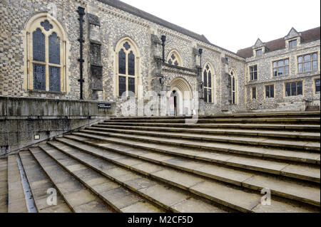Gothic Great Hall of Winchester Castle where is hunging an imitation Arthurian Round Table in Winchester, Hampshire, - Stock Photo