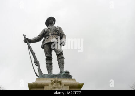 King's Royal Rifle Corps Memorial from 1922 by John Tweedt in Historic Centre of Winchester, Hampshire, England, - Stock Photo