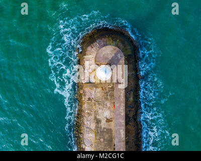 An aerial view of the Brixham breakwater in Devon, United Kingdom - Stock Photo