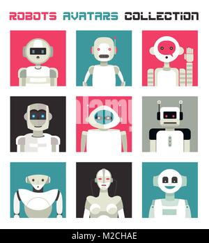 Varied collection of robots faces and heads for used as characters avatars. Imaginative and friendly colourful collection - Stock Photo