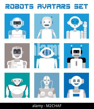 Varied set of robots faces and heads for used as characters avatars. Imaginative and friendly colourful collection - Stock Photo