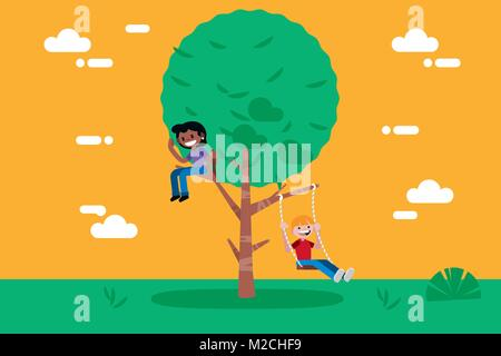 Children Playing in a Tree.  The boy is swinging in a swing. Vector illustration in a flat, minimal style. - Stock Photo