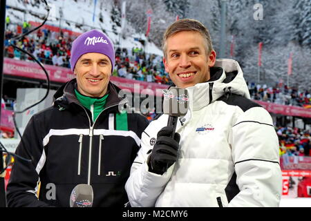 Martin SCHMITT, Skisprung Experte bei Europsport mit Moderator Sebastian TIFFERT. Qualfikation für 63. Vierschanzentournee - Stock Photo