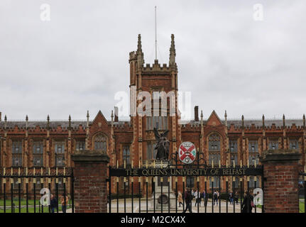 The Lanyon Building at The Queen's University of Belfast in Northern Ireland. The University may be affected by - Stock Photo