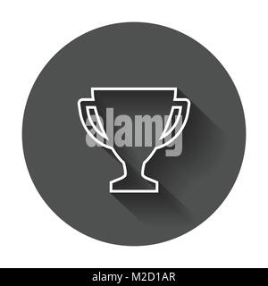 Trophy Cup Flat Vector Icon In Line Style Simple Winner Symbol Illustration With Long