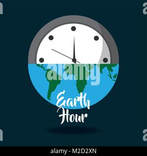 earth hour globe save energy world card - Stock Photo