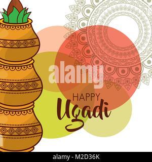 happy ugadi traditional festival hindu celebration - Stock Photo