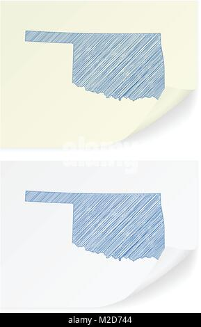 Oklahoma scribble map on a white background. - Stock Photo