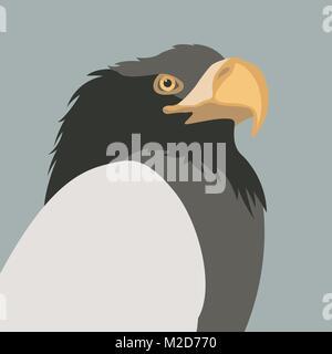 eagle head vector illustration flat style profile side - Stock Photo
