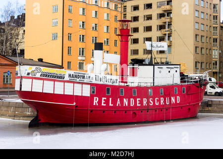 The Majakkalaiva Relandersgrund, a former Finnish lightship (a ship which acts as a lighthouse) painted red that - Stock Photo