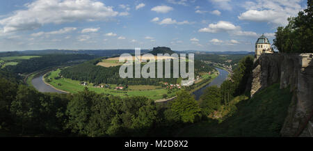 Panoramic view of the Elbe River pictured from the Königstein Fortress (Festung Königstein) in Saxon Switzerland - Stock Photo
