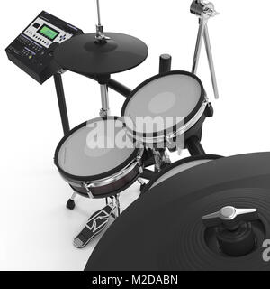 Electronic Drum Kit on white. 3D illustration - Stock Photo