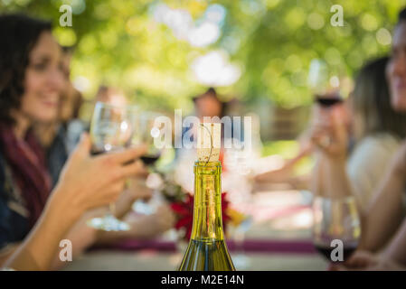 Cork in wine bottle near people drinking wine - Stock Photo