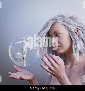 Women watching robot woman in floating sphere - Stock Photo