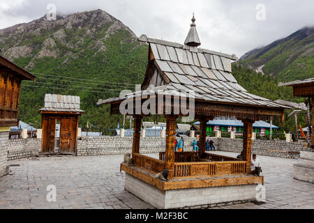 Chitkul temple at the last village in india at Chitkul, Himachal Pradesh, India - Stock Photo