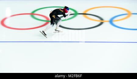 Pyeongchang, South Korea. 7th Feb, 2018. A German speed skater trains ahead of 2018 PyeongChang Winter Olympic Games - Stock Photo