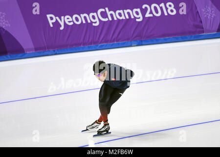 Pyeongchang, South Korea. 7th Feb, 2018. China's speed skater Gao Tingyu trains ahead of 2018 PyeongChang Winter - Stock Photo