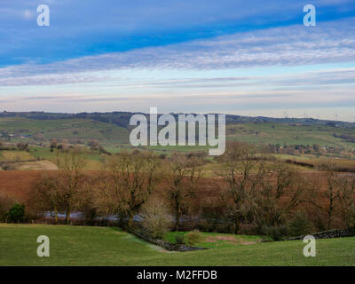 Parwich Village, Derbyshire. 7th Feb, 2018. UK Weather: Loverly view toward Parwich village from the Tissington - Stock Photo