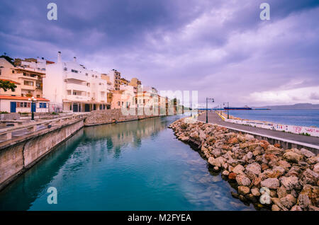 The seafront picturesque city of Sitia located in north east part of Crete, close to the famous palm forest and - Stock Photo