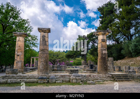The archaeological site of ancient Olympia. The place where olympic games were born in classical times and where - Stock Photo