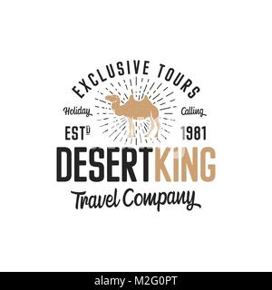 Camel logo template concept. Travel company logotype. Desert king text quote. Exclusive tours vacation business - Stock Photo