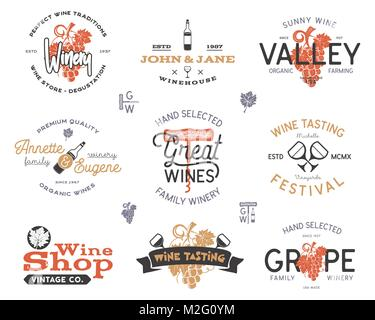 Wine logos, labels set. Winery, wine shop, vineyards badges collection. Retro colors. Typographic hand drawn design - Stock Photo