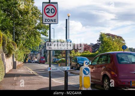 Road into Batheaston twenty mile per hour zone with traffic calming chicane, Somerset, England - Stock Photo