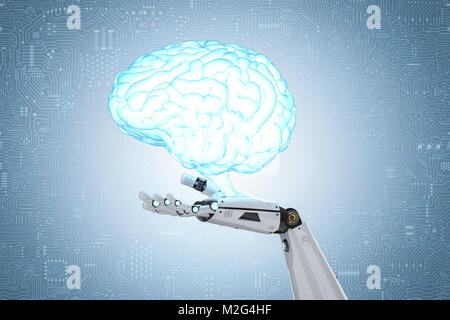 3d rendering robot hand holding artificial intelligence brain - Stock Photo