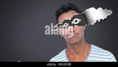 Man with torn paper on eyes and eye icons - Stock Photo