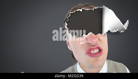 Man with torn paper on eyes - Stock Photo