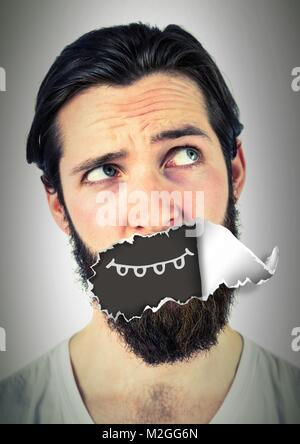 Man with torn paper on mouth and cartoon mouth - Stock Photo