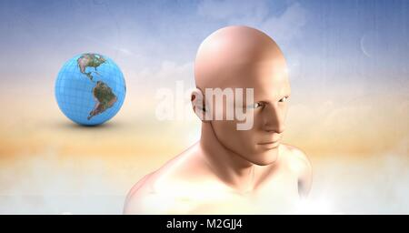 mans head and planet earth world sphere in clouds - Stock Photo