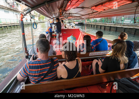 People on the boat in khlong Saen Saeb river in Bangkok, Thai - Stock Photo